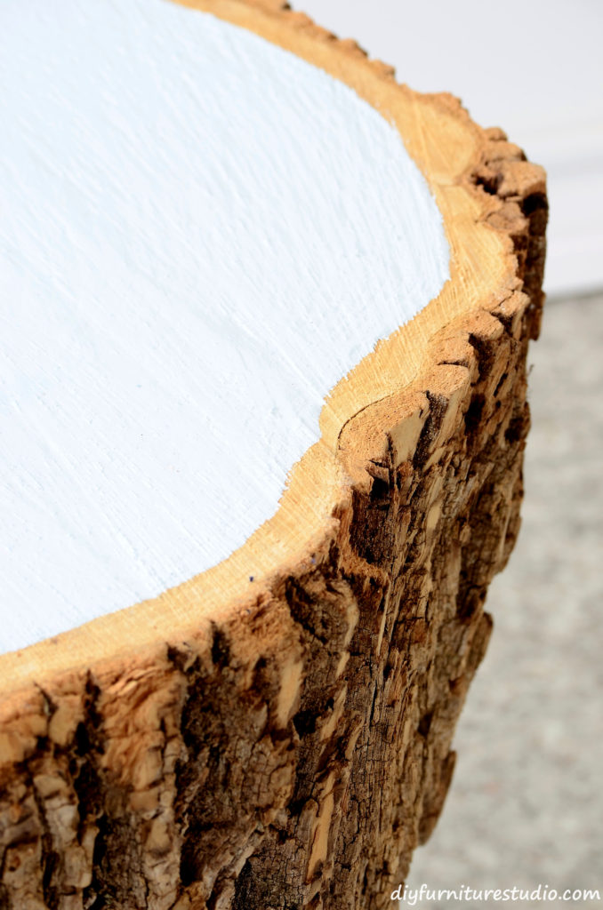 Make a Live Edge Stump Coffee Table with Bark and Painted Top.