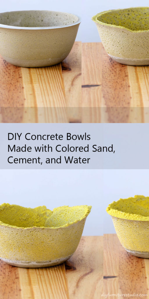 Learn how to make colorful concrete bowls using cement, colored sand, and water.