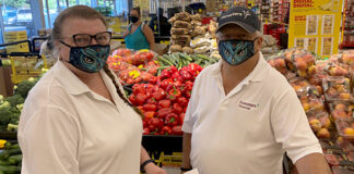 Kathleen and Gary in a grocery store