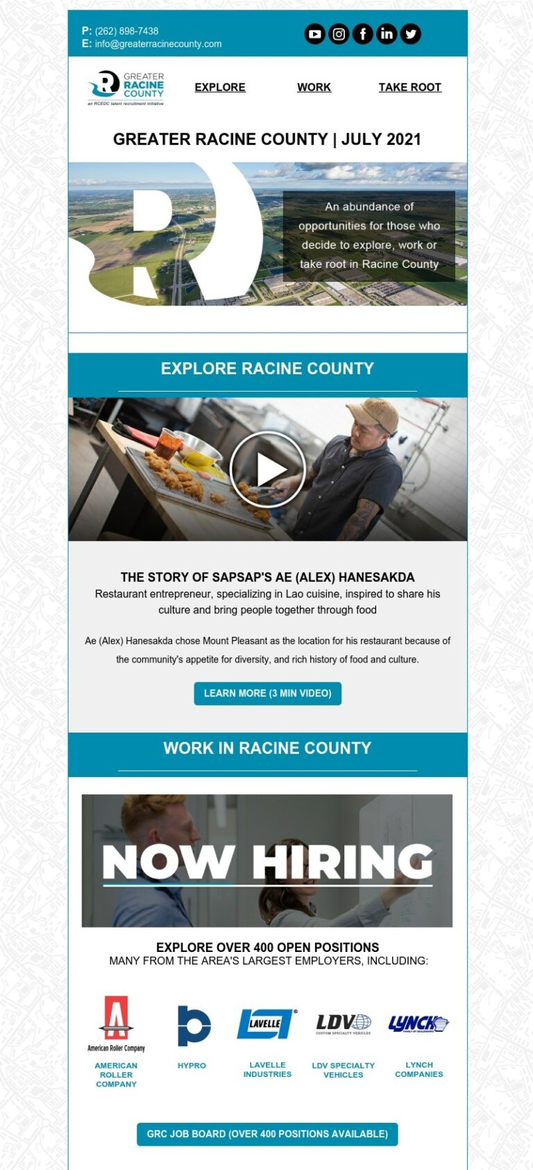 Greater Racine county newsletter featuring SapSap a lao-inspired restaurant and new jobs