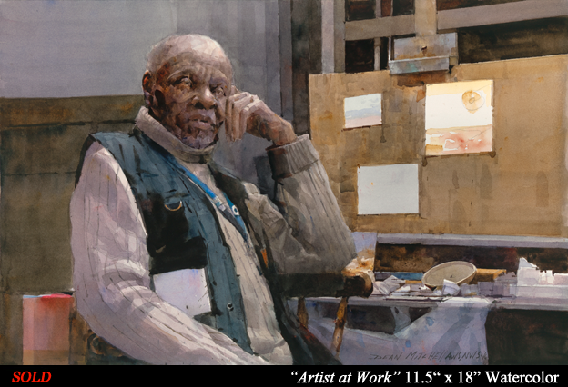 "Artist at Work 11.5"" x 18"" Watercolor"