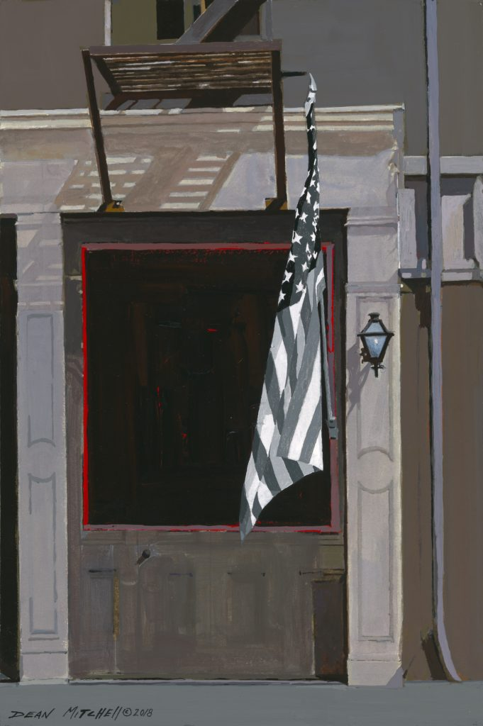 """<strong style=""""color: red;"""">SOLD</strong> American in Black & White 15"""" x 10"""" acrylic"""