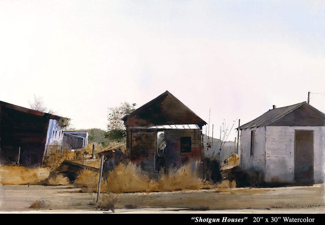 """Shotgun Houses 20"""" x 30"""" Watercolor"""