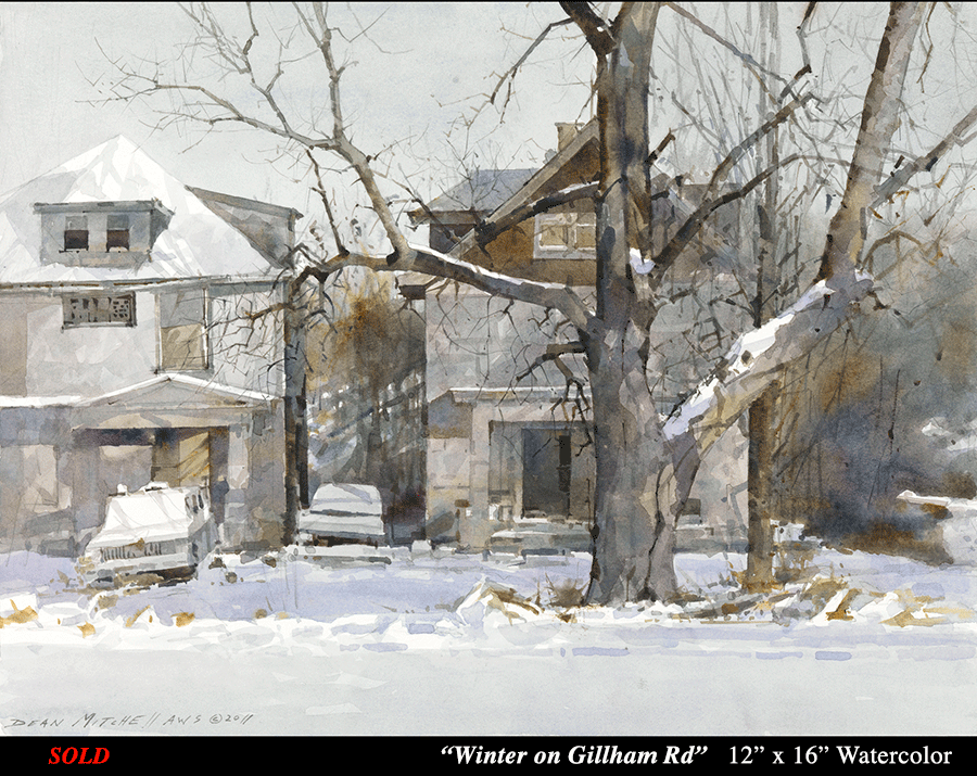 Winter on Gillham Rd 12 x 16 watercolor