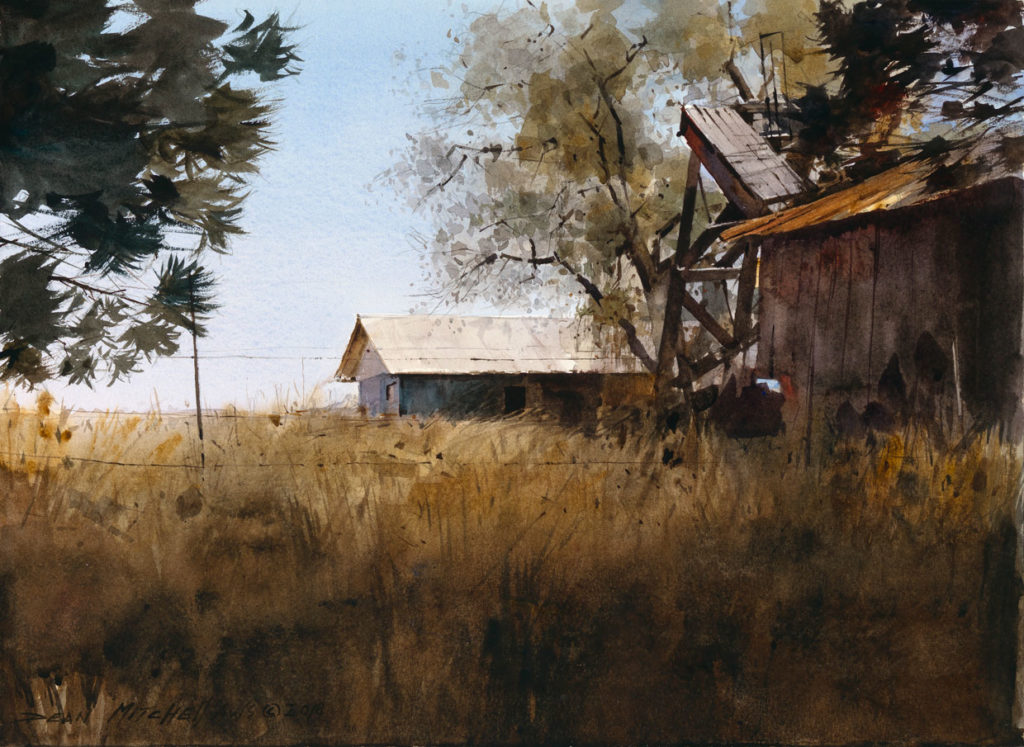 """<strong style=""""color: red;"""">SOLD</strong>  Rustic West  10"""" x 15""""  Watercolor"""
