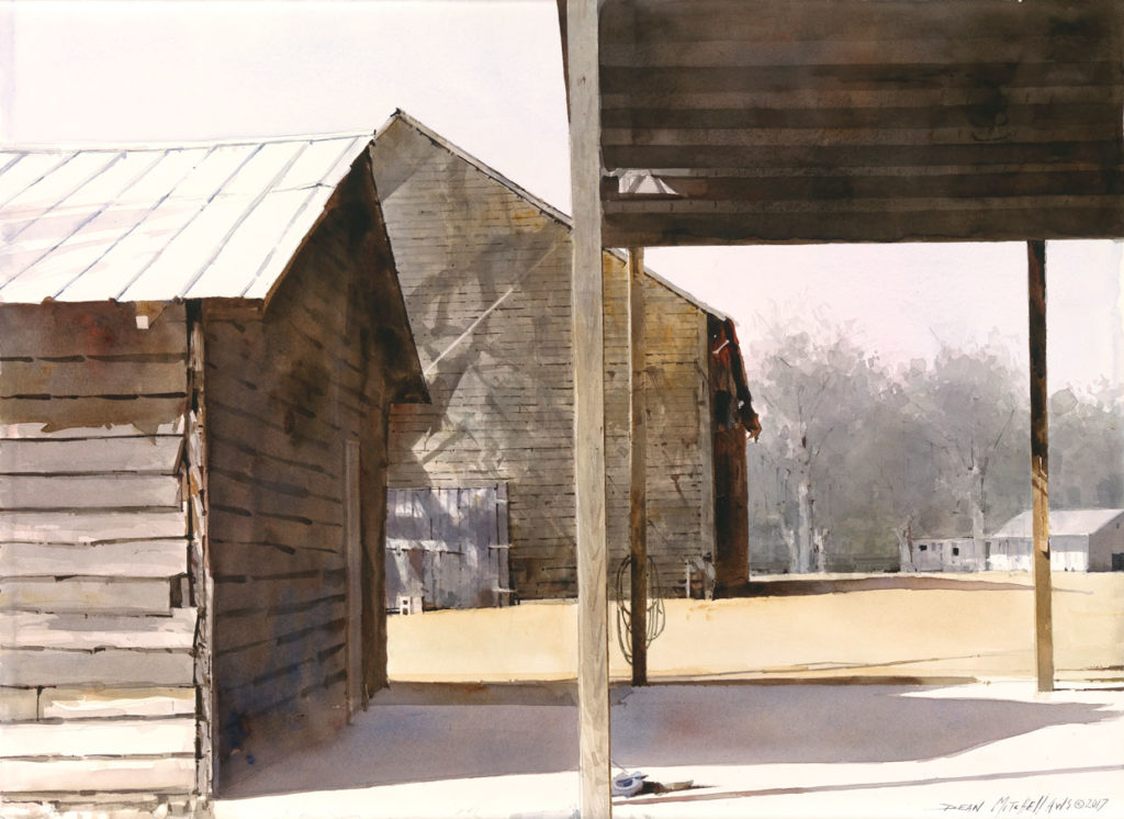 """<strong style=""""color: red;"""">SOLD</strong> Tobacco Barn Shadows  22""""x 30"""" Watercolor"""