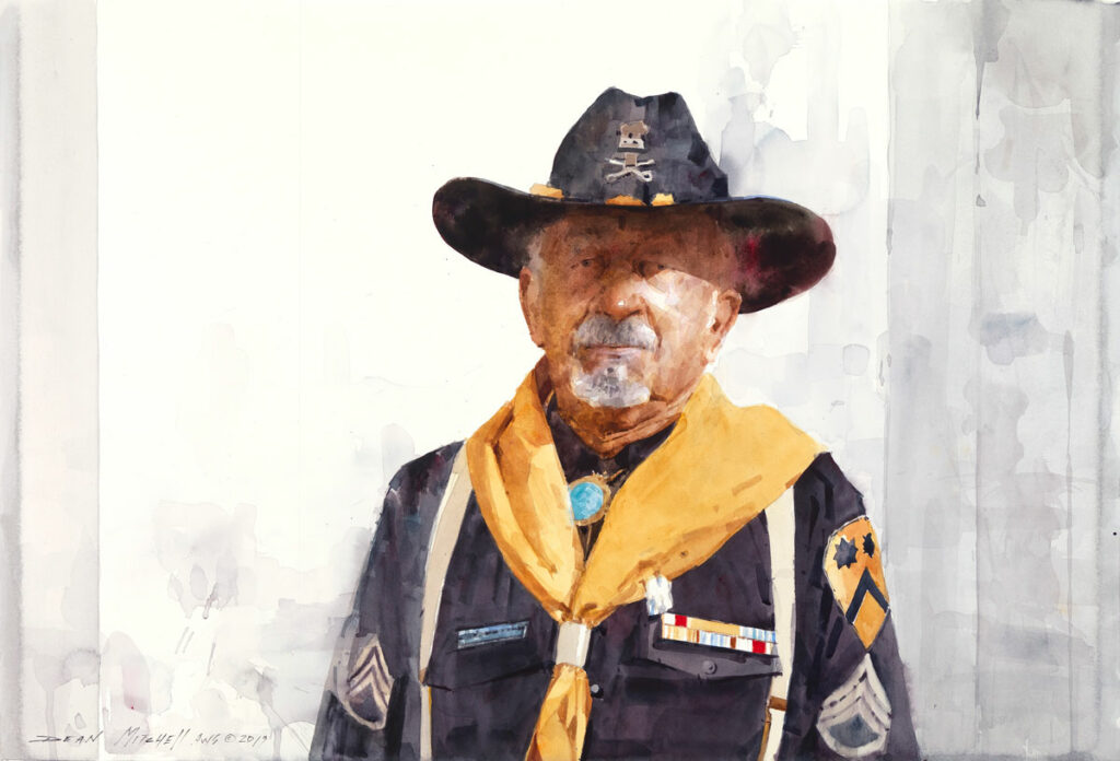 """Russell Jones Buffalo Soldier 20"""" x 30"""" watercolor"""