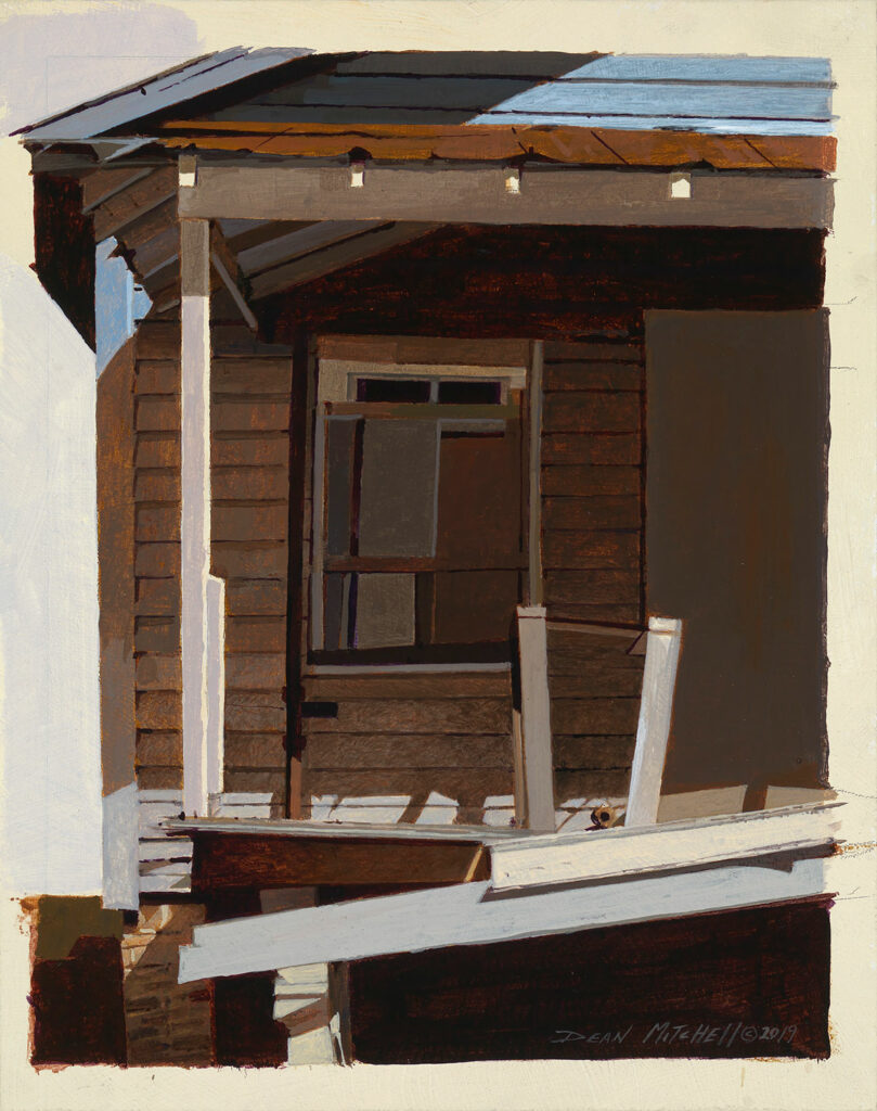 """Boarded-up 11"""" x 8.75"""" acrylic"""