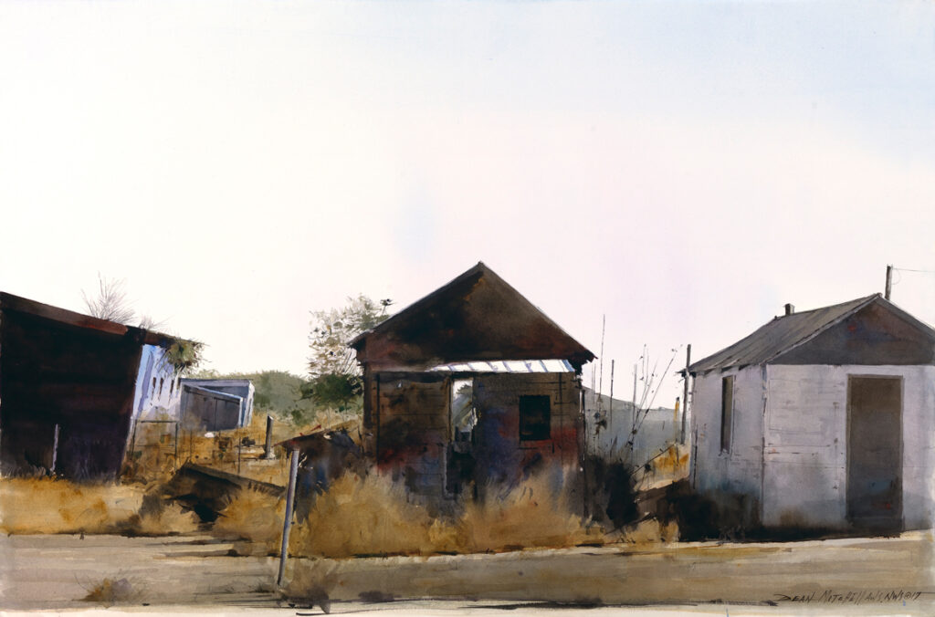 """<strong style=""""color: red;"""">SOLD</strong> Shotgun Houses  20"""" x 30"""" watercolor"""