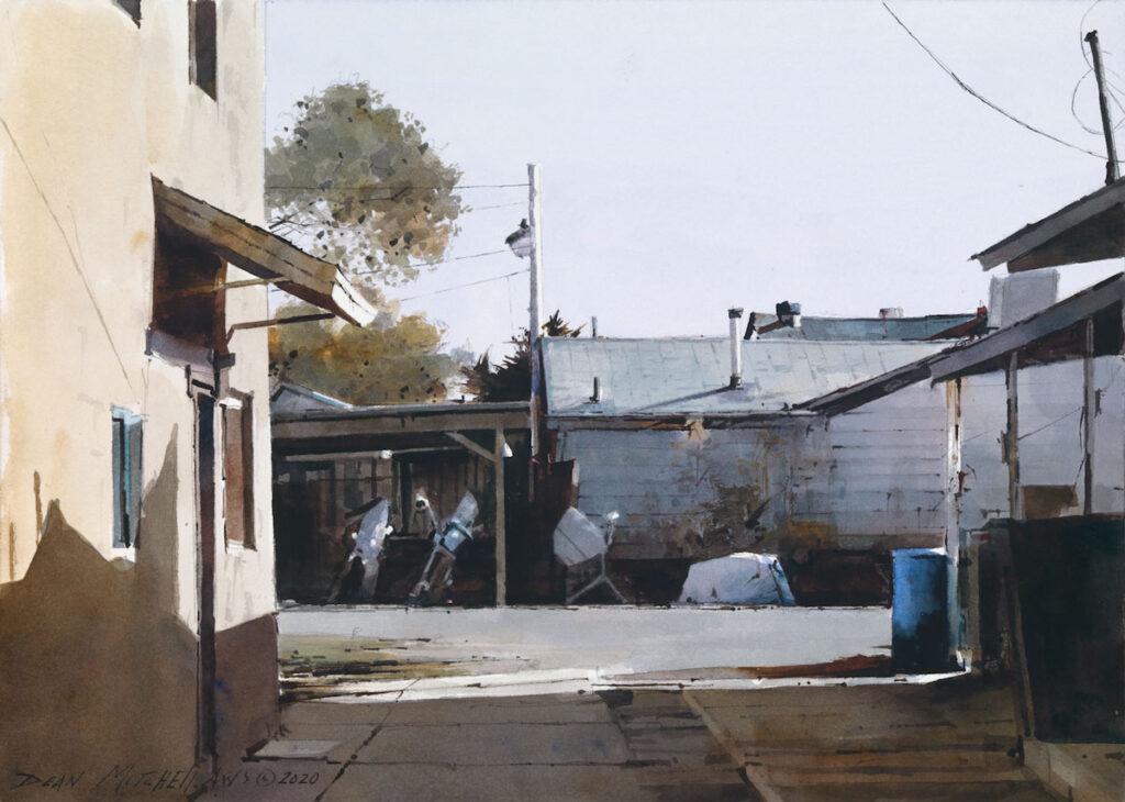 """Alleyway Shadows 10"""" x 15"""" watercolor"""