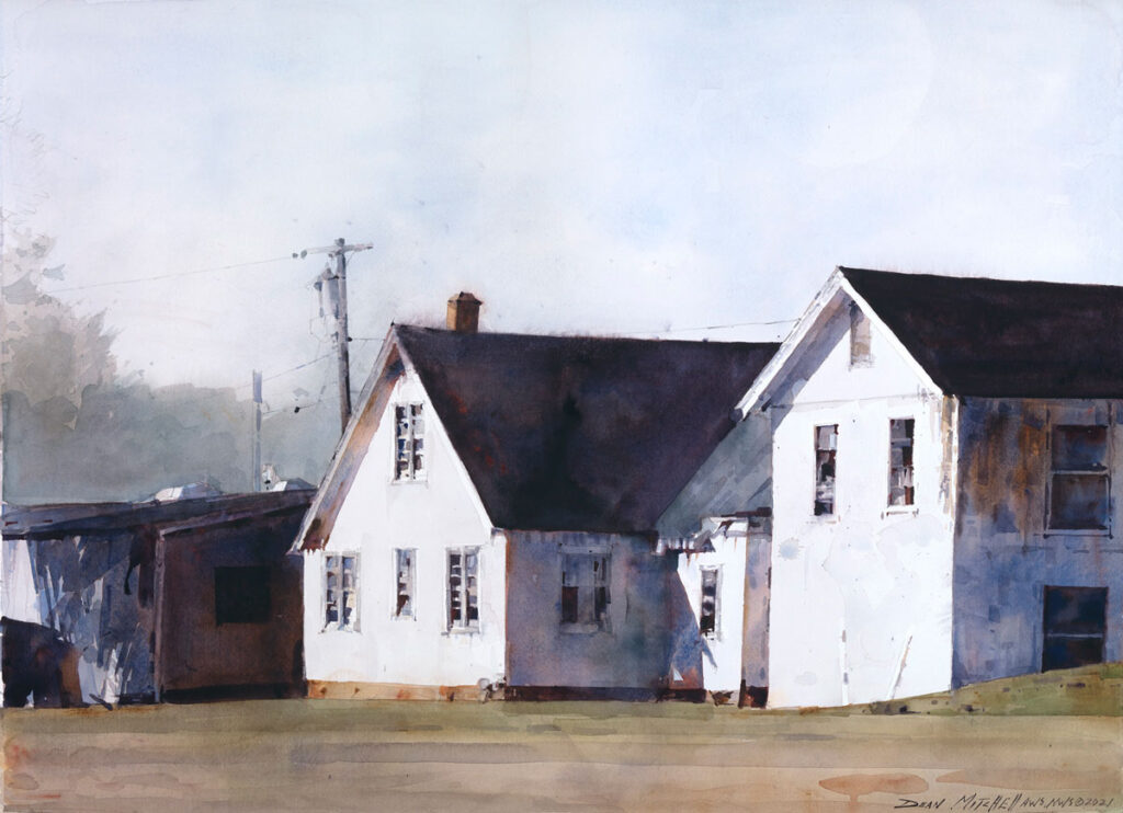 """Uptown Houses 22"""" x 30"""" watercolor"""