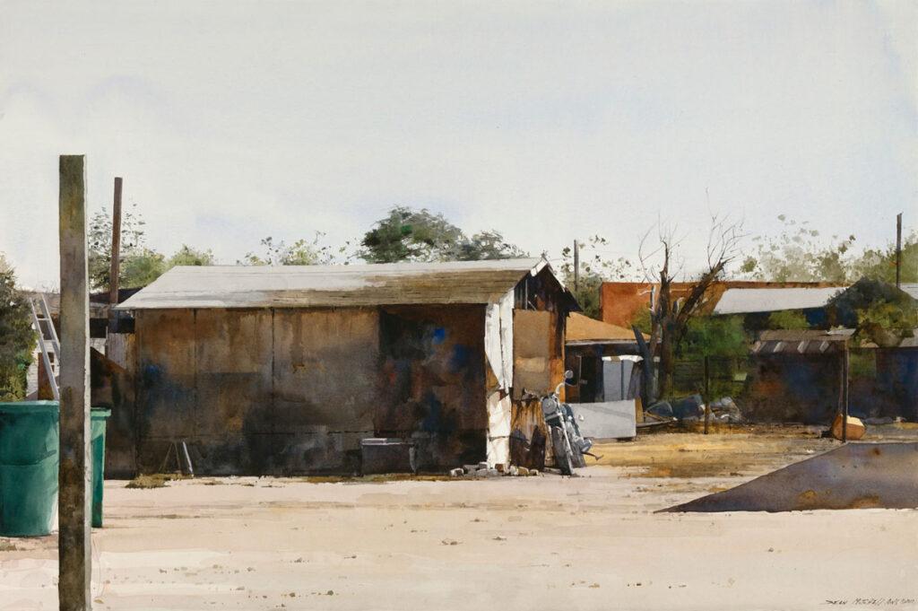 """Pima Maricopa Structure 20"""" x 30"""" watercolor"""