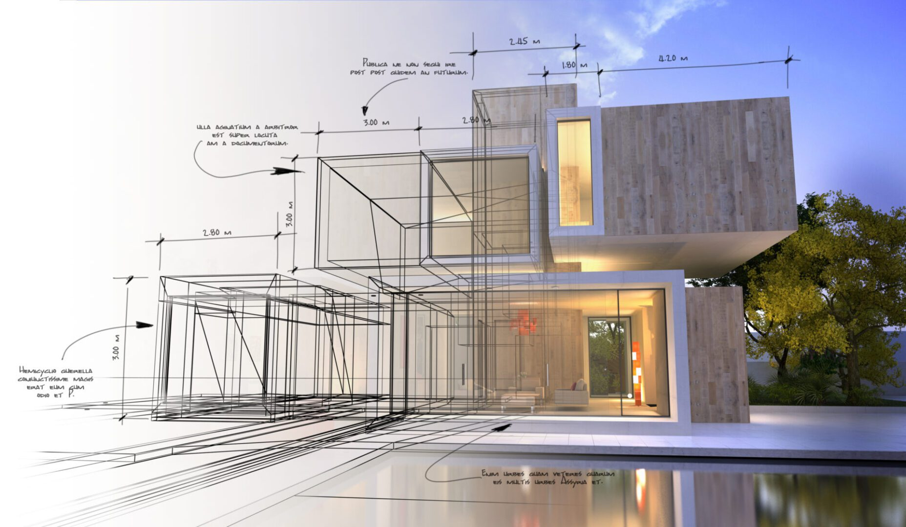 Draft like 3D rendering of a modern luxurious villa with swimming  pool