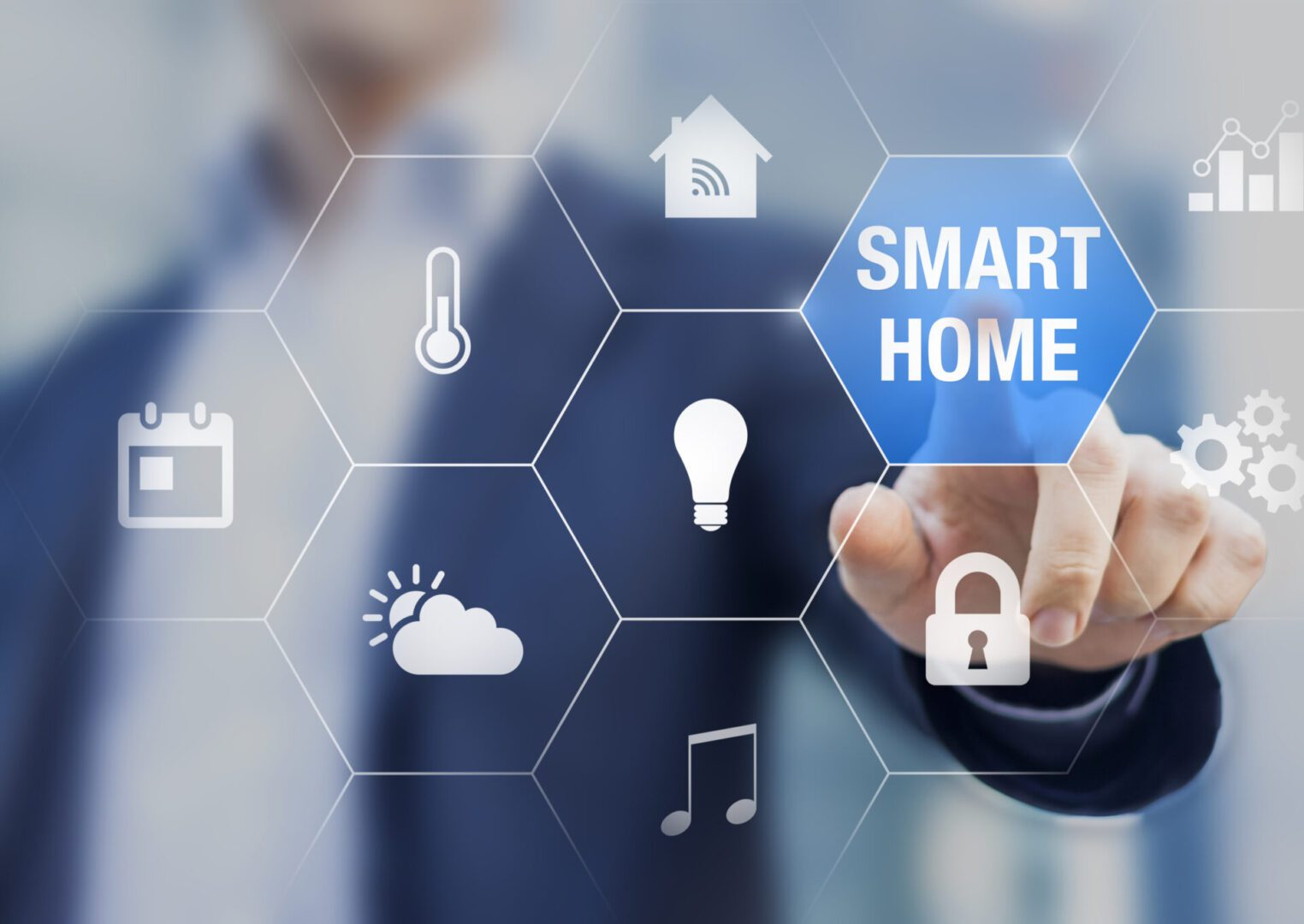 Smart home automation concept with icons showing the functionalities of this new technology and a person touching a button