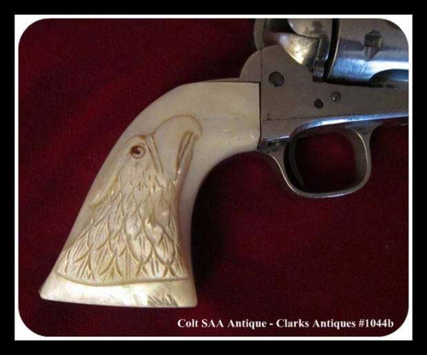 Antique Colt SAA Cavalry Revolver with Carved Pearl Eagle Head Grips