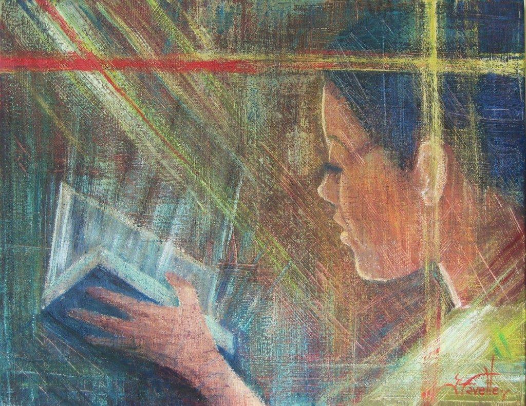 "Reading dimension 22"" X 28"" Acrylic on canvas"