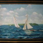 """Sailboats       24' X 36"""" Acrylic on canvas"""
