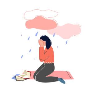 Depressed Teen Girl Illustration