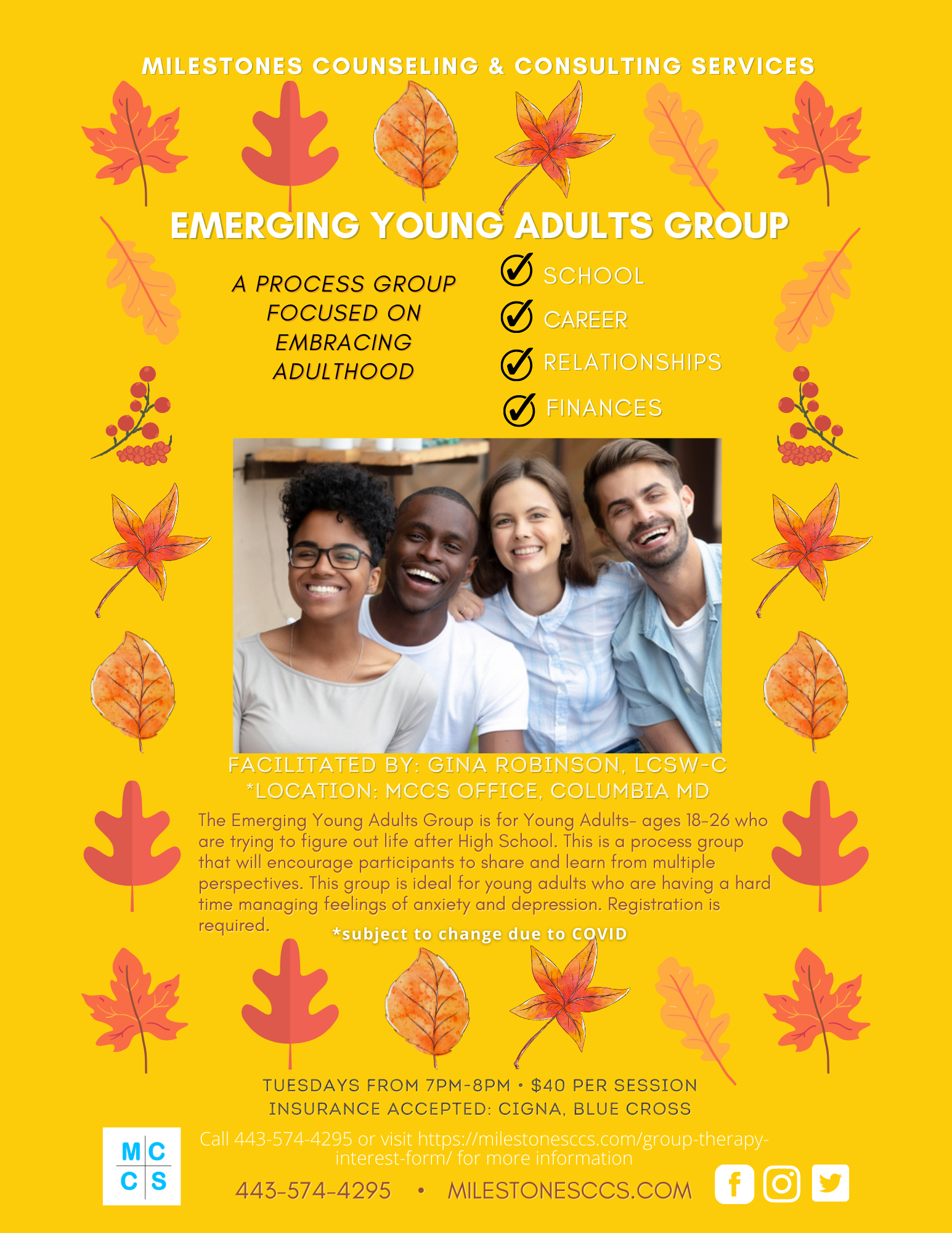 Emerging Young Adults Counseling Group | MCCS | Columbia MD