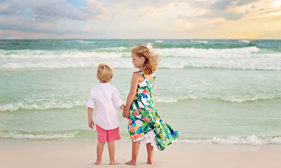 Brother and Sister beach photography session in South Walton near Seaside and Blue Mountain Beach in Florida