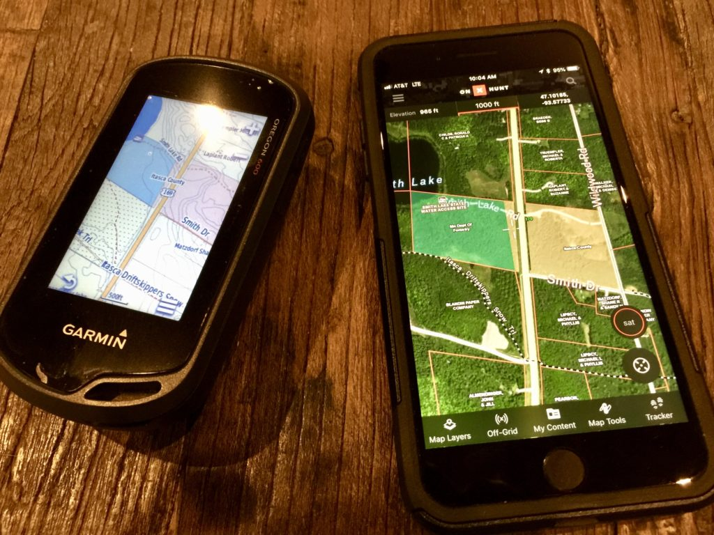 Garmin GPS and iPhone 8 Plus running On X Hunt