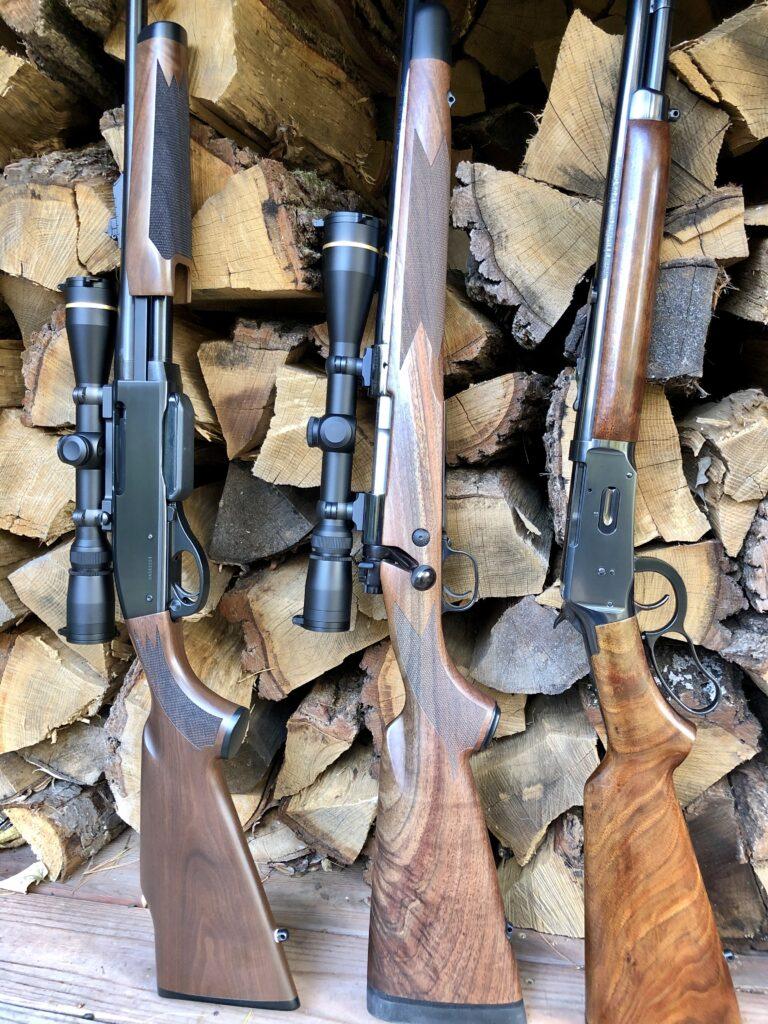 Popular Deer Rifles. A Remington 7600 in 30-06, a Winchester Model 70 Super Grade in 30-06 and a Winchester Model 64 in .30-30