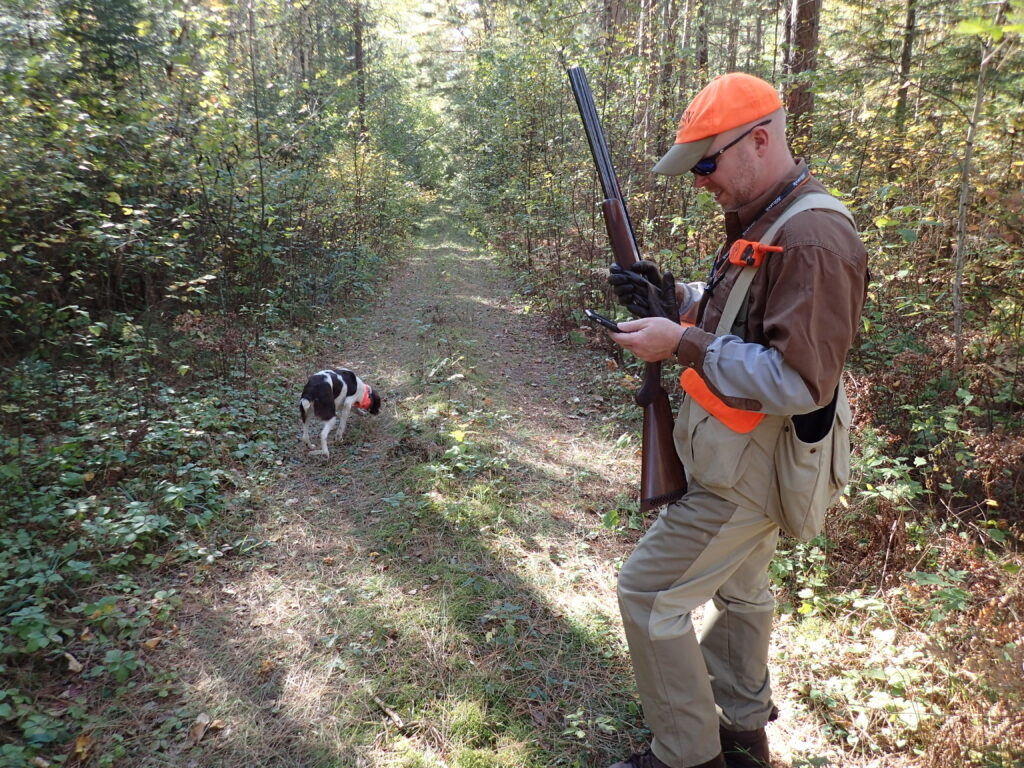 Hunter using onX Hunt app while grouse hunting in northern MN