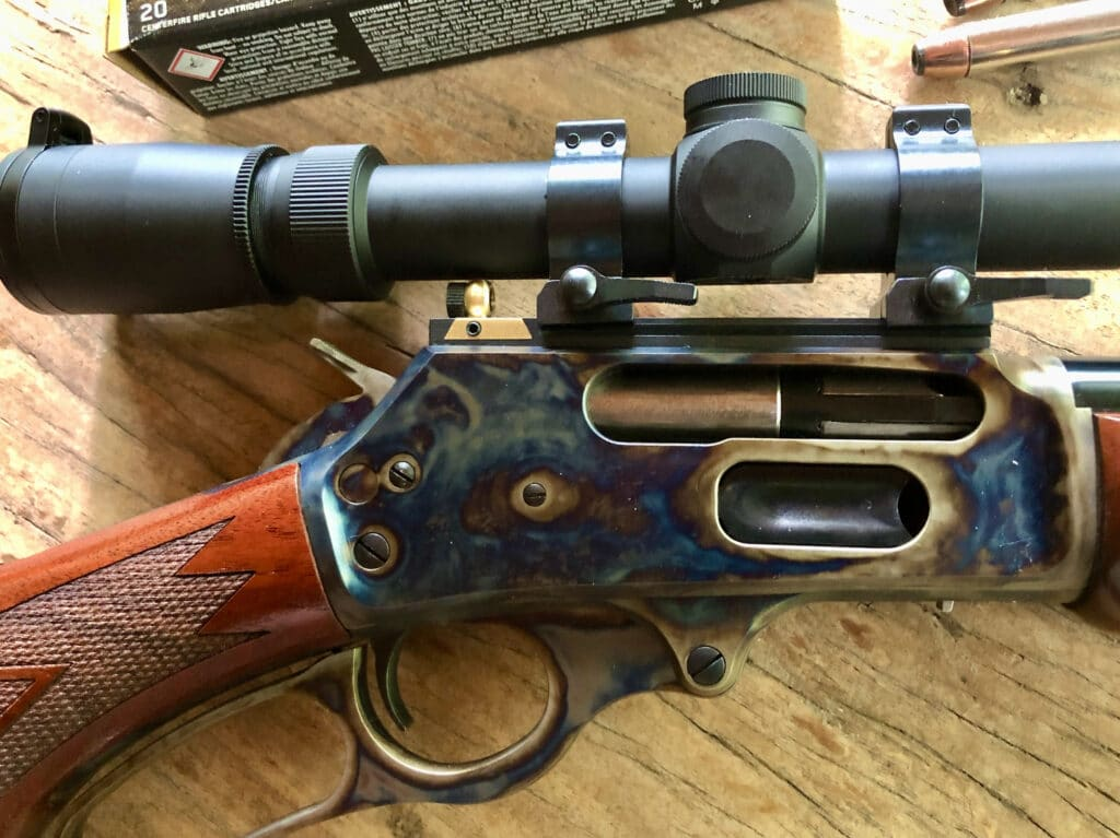 Turnbull Marlin 1895 with skinner sight and Leupold scope
