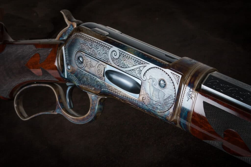 The finished Turnbull-Restored Winchester 1886. This gun was restored for Tom Selleck.