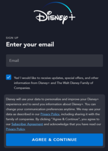 Example Form from Disney Plus