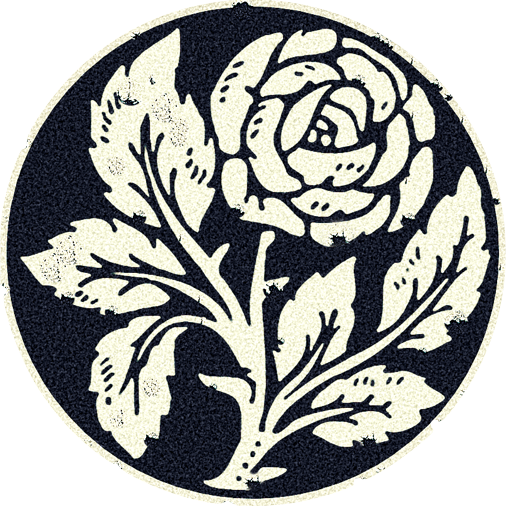 Samurai Mon of a White Rose with Stem and Leaves