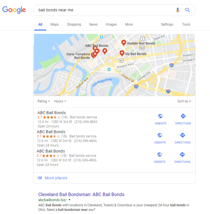 """New Google Results for """"Bail Bonds Near Me"""""""