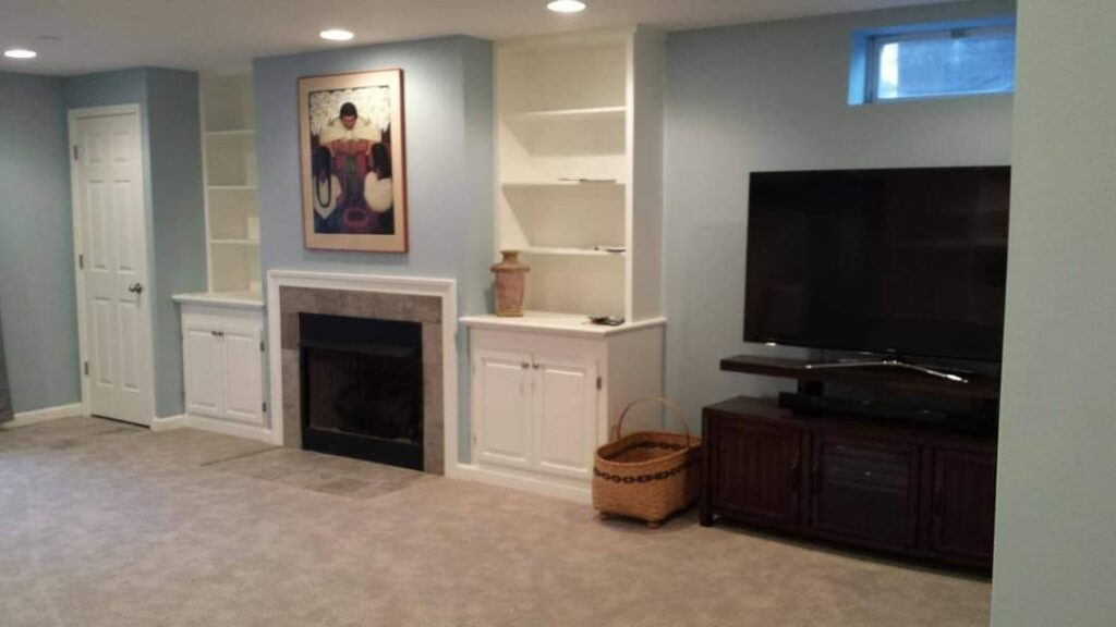 BASEMENT FIREPLACE AND BUILT-IN