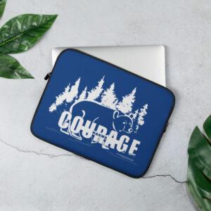 Makwa Bear Courage - Laptop Sleeve Blue
