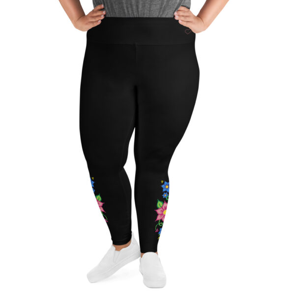 Women's Plus Size Leggings with Red & Blue Ojibwe Floral Design