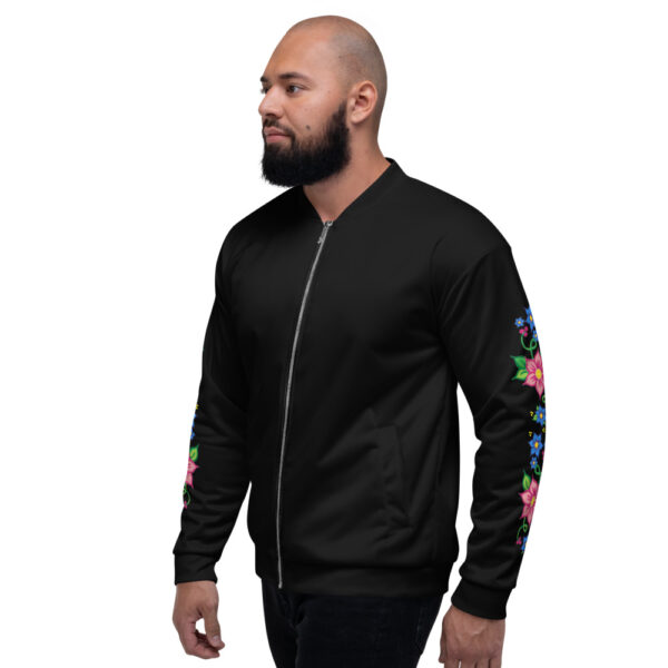 Unisex Bomber Jacket with Red & Blue Ojibwe Floral 1
