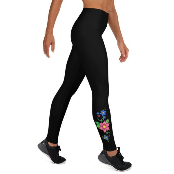 Yoga Leggings with Red & Blue Ojibwe Floral Design