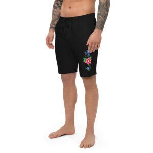 Men's Fleece Shorts with Red & Blue Ojibwe Floral Design