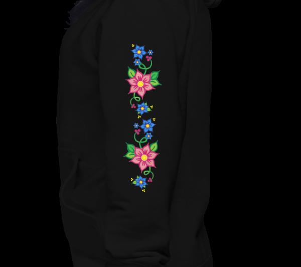 Unisex Hoodie with Red & Blue Ojibwe Floral 1