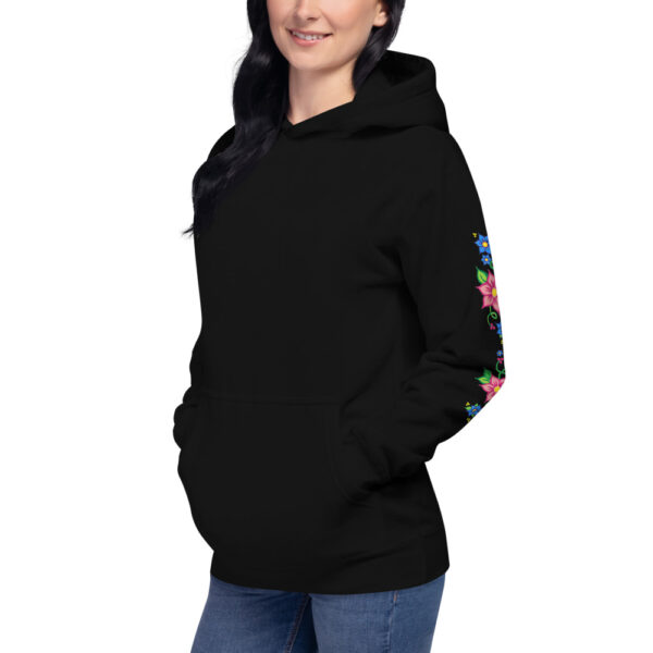 Unisex Hoodie with Red & Blue Ojibwe Floral Design