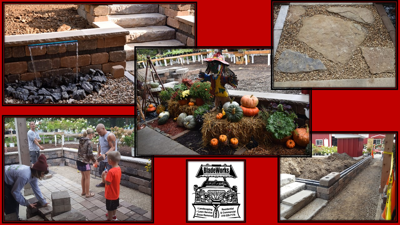 Patio, stairs, Water feature BLOOMS & BladeWorks