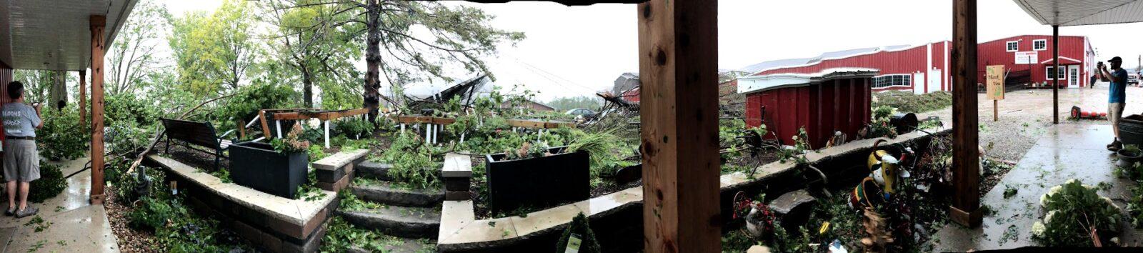 Courtyard damage