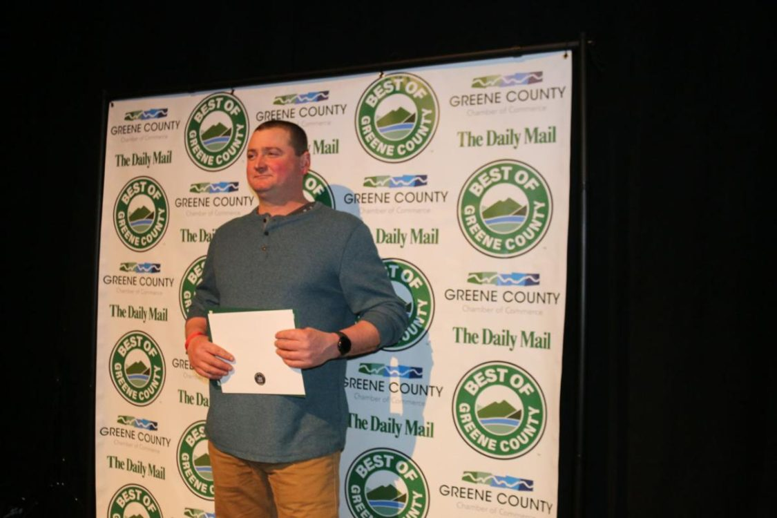 Matt Story of Story's Farms accepting award for Best Farm Stand-Melanie Lekocevic for The Daily Mail and Hudson Valley 360