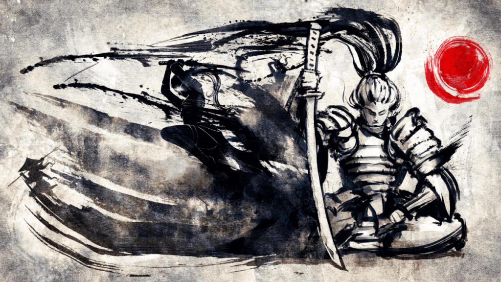 image of samuari kneeling with ink running out of the blade