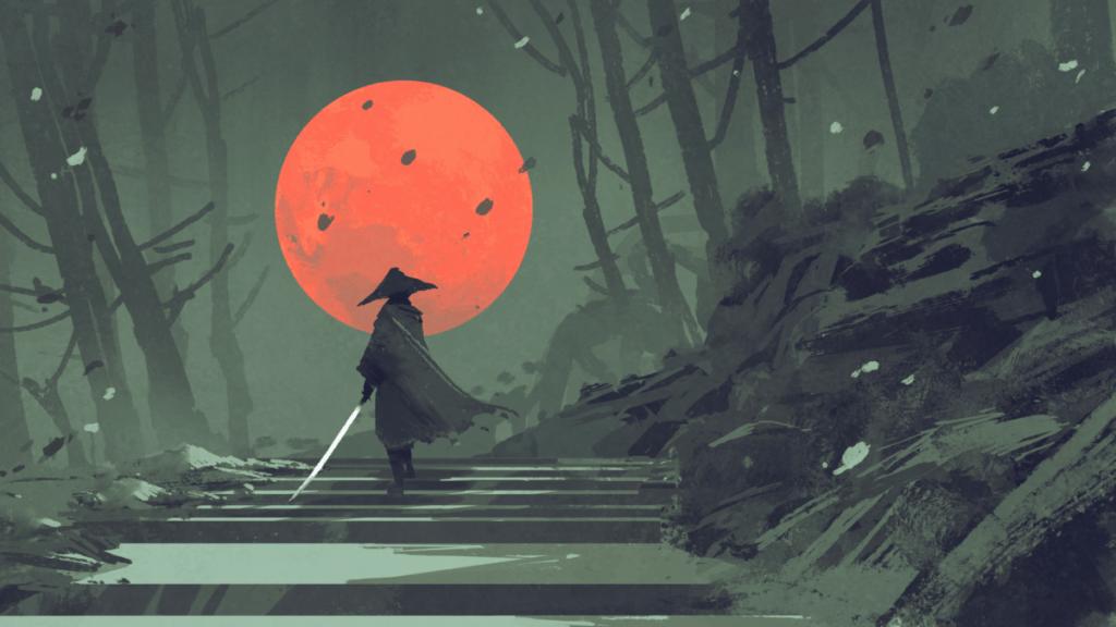 Samurai walking towards orange moon