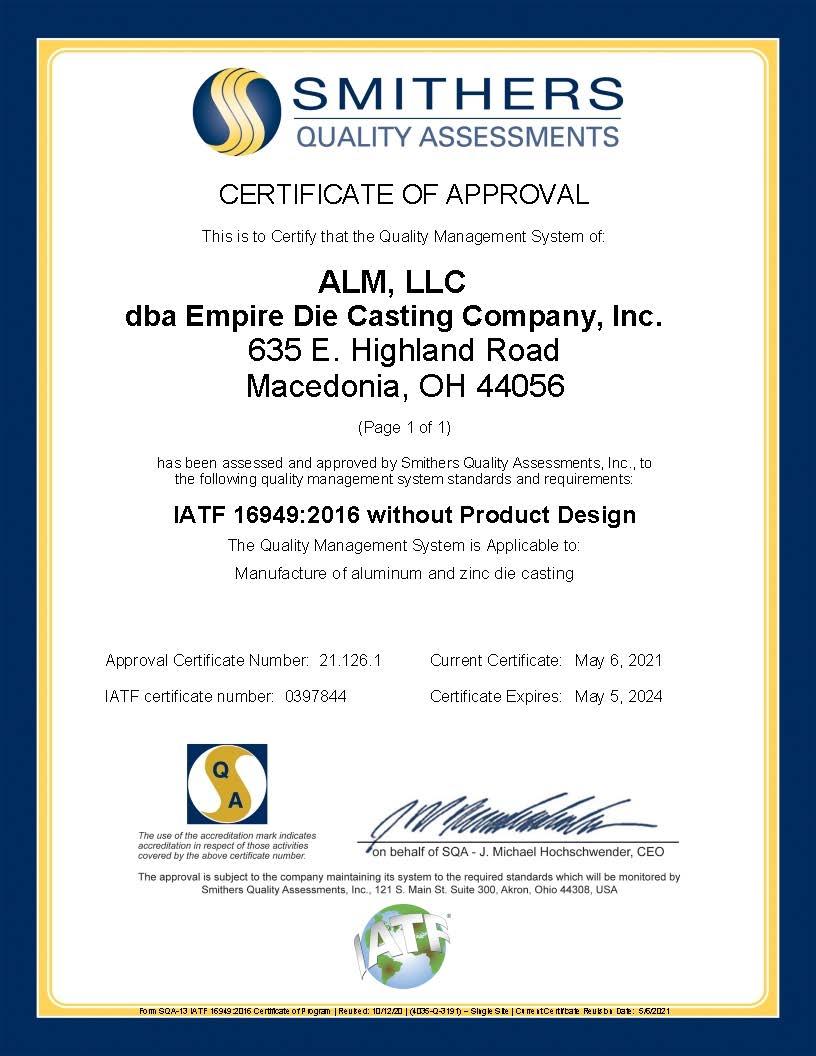 ALM LLC dba Empire Die Casting Company Inc - Final IATF