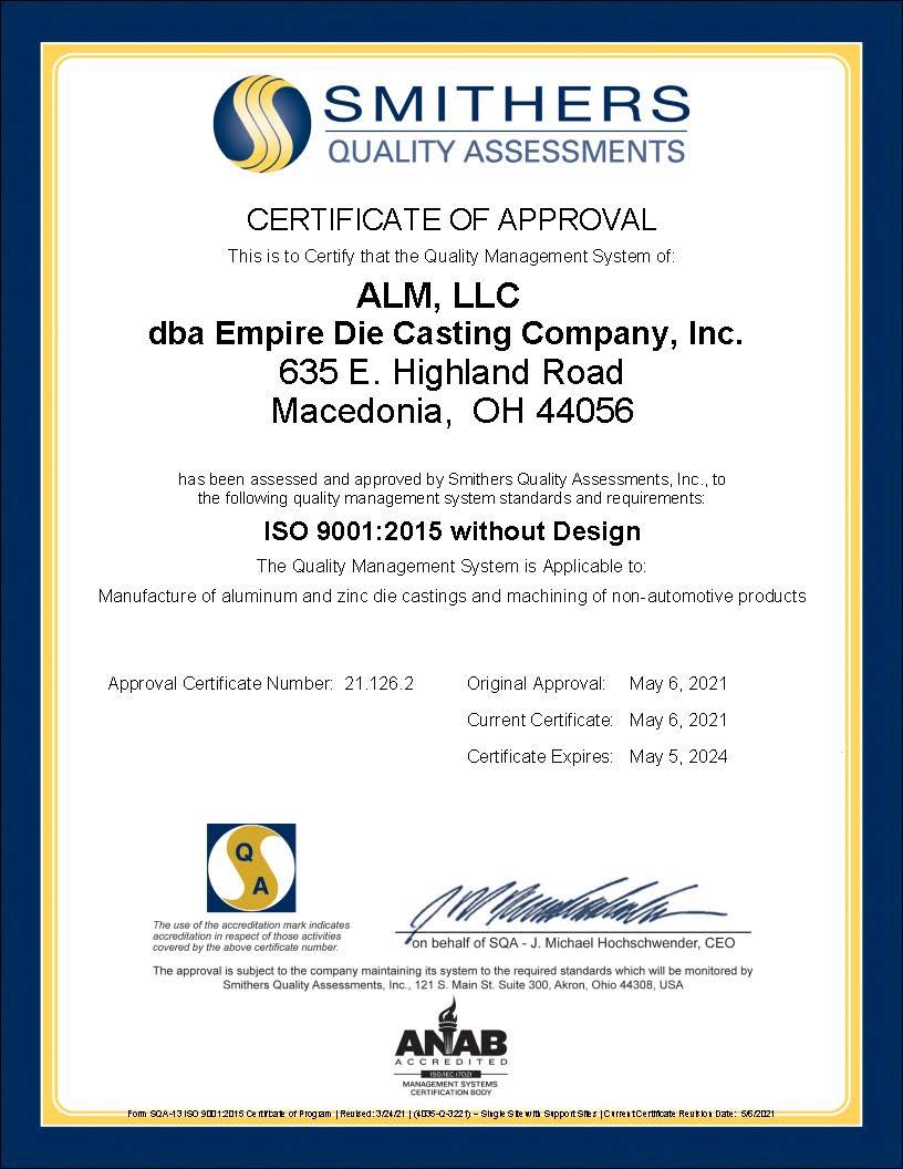 ALM LLC dba Empire Die Casting Company Inc - Final ISO