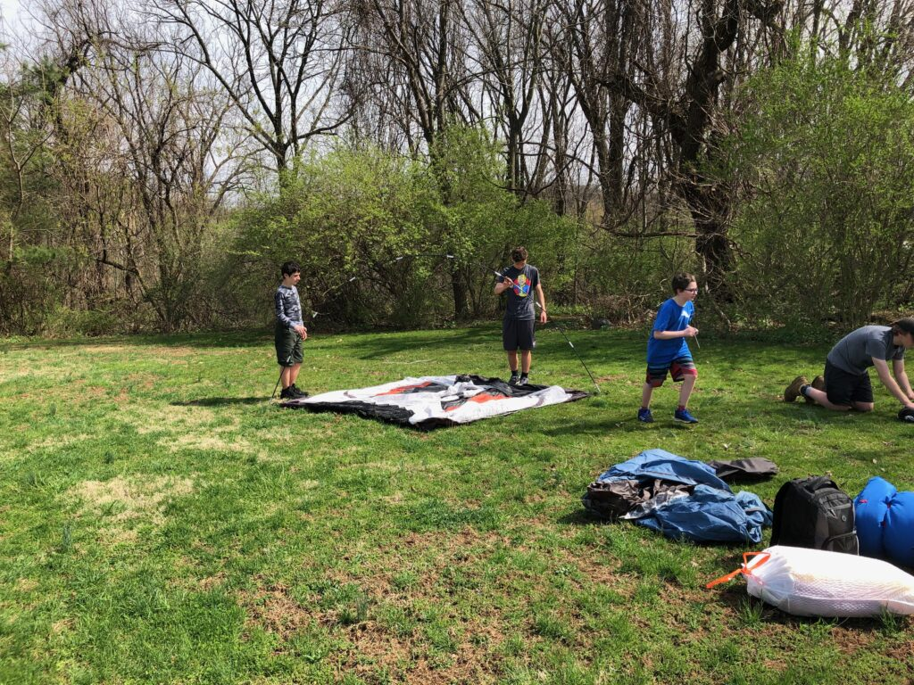 Scouts setting up tents 2019