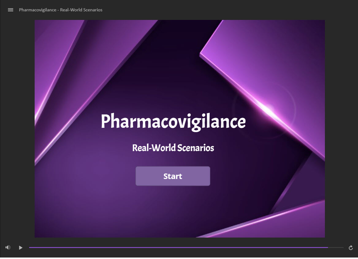 """First page of a module with green geometric shapes and text that says """"Pharmacovigilance."""" This was built to walk MSLs through scenarios."""