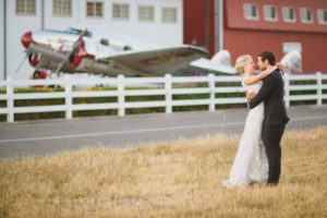 Wedding Photo Shoot in Front of Plane